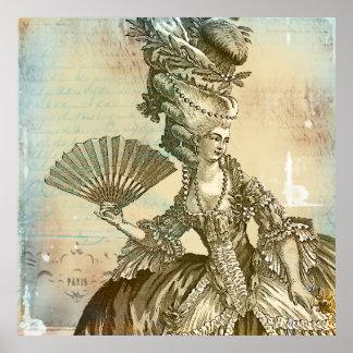 Pergamino LG de la sepia de Marie Antonieta. Impre Poster
