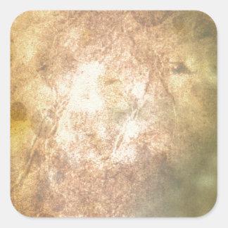 Pergamino quemado pegatinas cuadradas