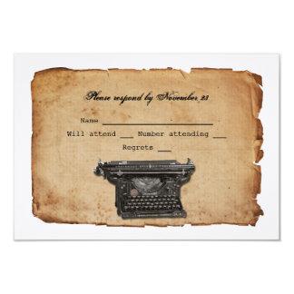 """Pergamino RSVP de la máquina de escribir del Invitación 3.5"""" X 5"""""""