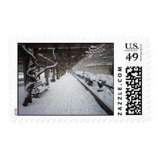 Pérgola en invierno, Central Park, NYC de las Sello Postal
