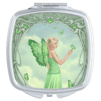Peridot Birthstone Fairy Square Compact Mirror