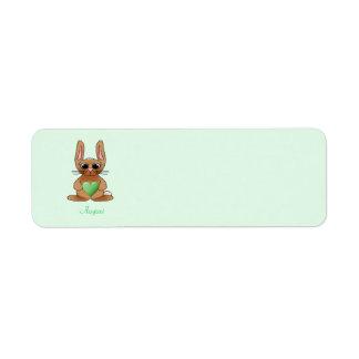 Peridot de Birthstone del conejo de agosto Etiqueta De Remite