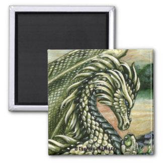 Peridot Dragon Square Magnet