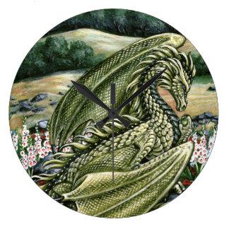 Peridot Dragon Wall Clock