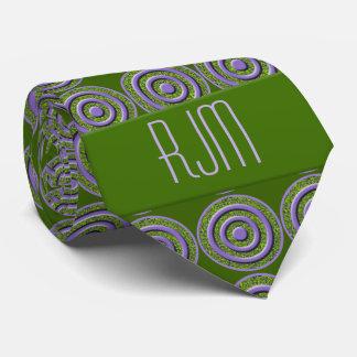 Peridot Green and Purple Paisley | Monogrammed Tie