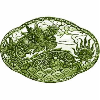 Peridot Green Dragon Medallion Statuette