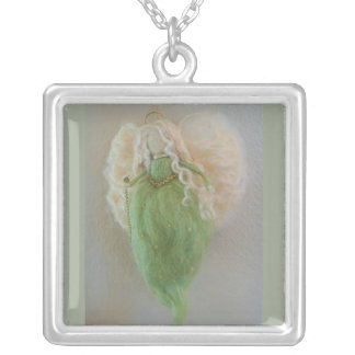 Peridot Green Guardian Angel Necklace