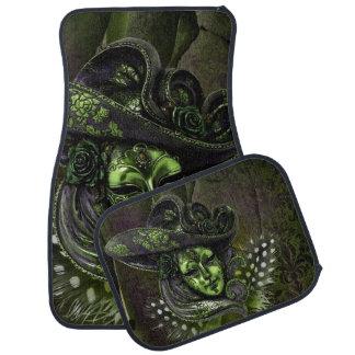 Peridot Green Masquerade Carnival Mask Car Mats Floor Mat