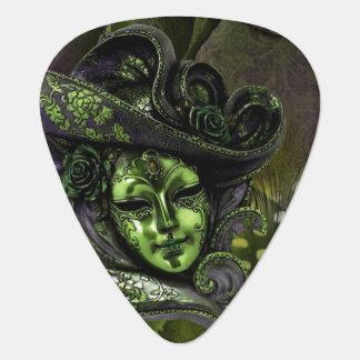 Peridot N Olive Masquerade Mask Guitar Pick