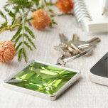 Peridot Silver-Colored Square Keychain