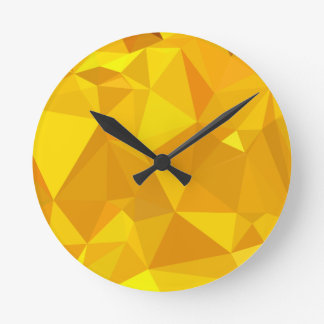 Peridot Yellow Abstract Low Polygon Background Round Clock