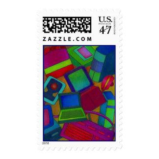 Periférico de ordenador embarullados coloridos del sellos postales