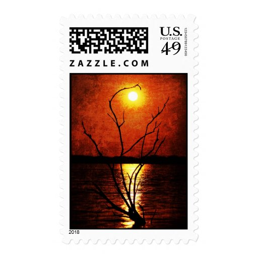 Perigee Moon Over the Lake Postage