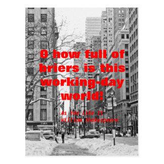 Perils of the Working Day World, Snowy Manhattan Postcard