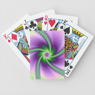 Perinola verde y púrpura cartas de juego