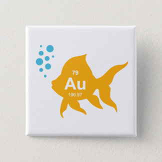 Periodic Table Elemental Gold Fish Pinback Button