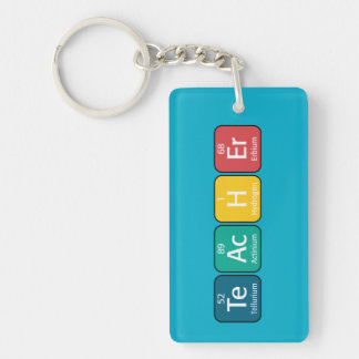 Periodic Table Elements Spelling Teacher Double-Sided Rectangular Acrylic Keychain