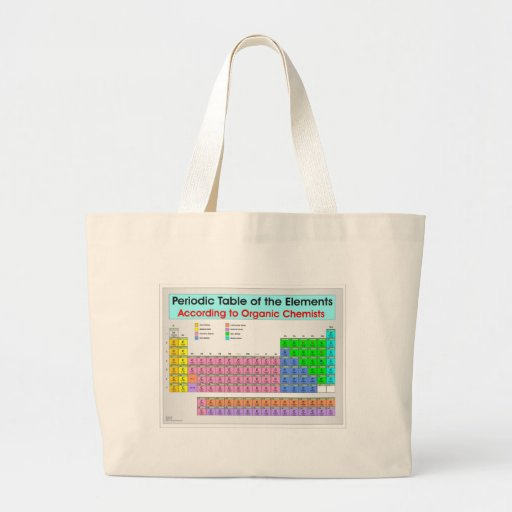 Periodic table for organic chemists jumbo tote bag