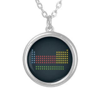 Periodic table in stars round pendant necklace
