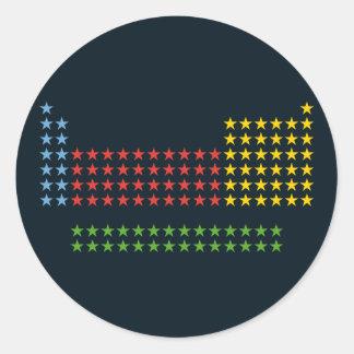 Periodic table in stars round sticker