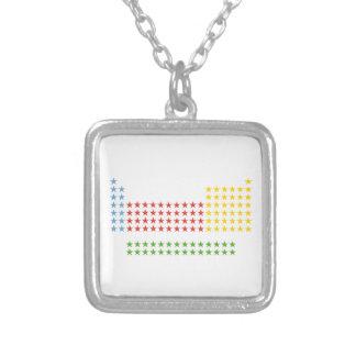 Periodic table in stars square pendant necklace