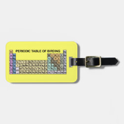 Small Luggage Tag with leather strap with Periodic Table of Birding design