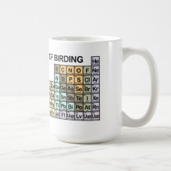 Classic White Mug with Periodic Table of Birding design