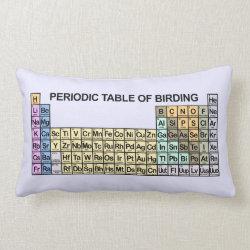 Throw Pillow Lumbar 13' x 21' with Periodic Table of Birding design