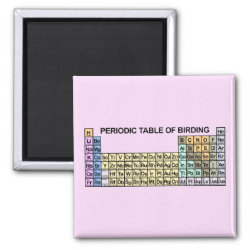 Square Magnet with Periodic Table of Birding design