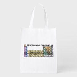 Reusable Grocery Bag with Periodic Table of Birding design
