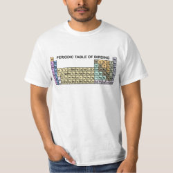 Men's Crew Value T-Shirt with Periodic Table of Birding design