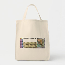Grocery Tote with Periodic Table of Birding design