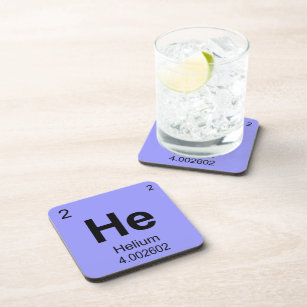 Periodic table elements atomic number drink beverage coasters zazzle periodic table of elements helium coaster urtaz Image collections