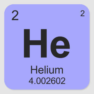 Periodic Table of Elements (Helium) Square Stickers