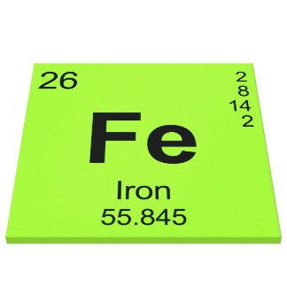 Periodic Table of Elements (Iron) Canvas Print