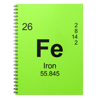 Periodic Table of Elements (Iron) Spiral Notebook