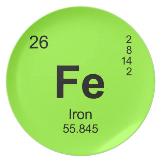 Periodic Table of Elements (Iron) Party Plates