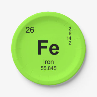 Periodic Table of Elements (Iron) 7 Inch Paper Plate