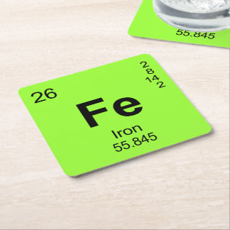 Periodic Table of Elements (Iron) Square Paper Coaster