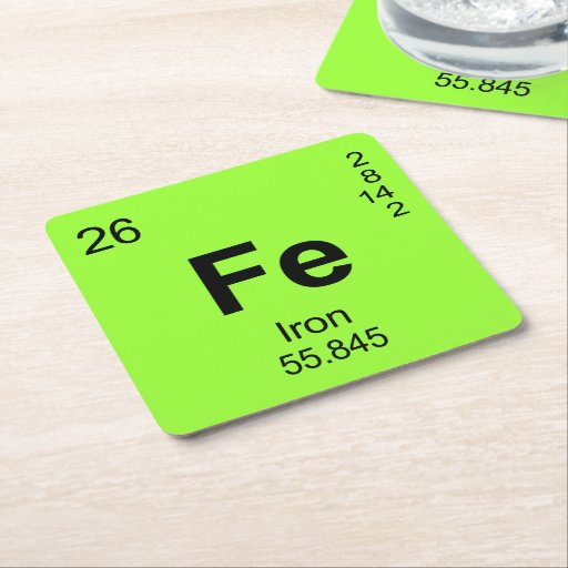 periodic table of elements iron square paper coaster