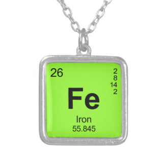 Periodic Table of Elements (Iron) Square Pendant Necklace