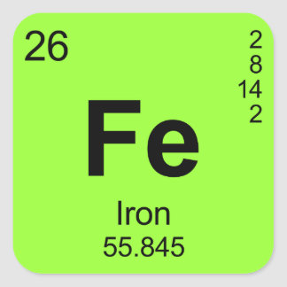 Periodic Table of Elements (Iron) Square Sticker