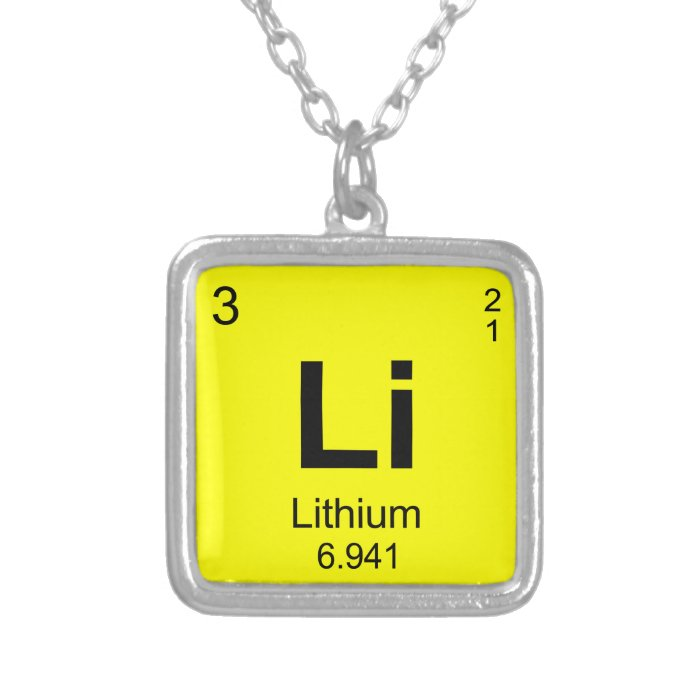 Periodic Table of Elements (Lithium) Silver Plated ...