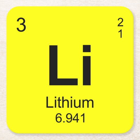 Periodic table of elements lithium square paper coaster zazzle periodic table of elements lithium square paper coaster urtaz Gallery