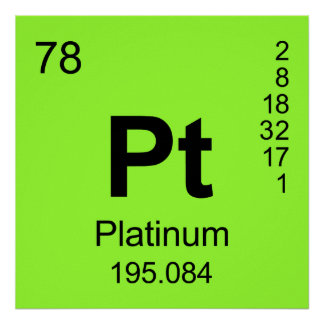 Periodic Table of Elements (Platinum) Poster