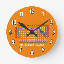 Periodic Table of Elements Round Clock