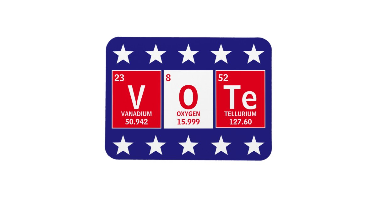 How Do You Spell Oxygen >> Periodic Table Of Elements Spell Vote 3 X 4 Magnet Zazzle Com
