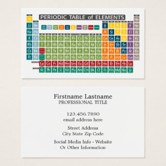Periodic Table of Elements - Use Periodically Business Card