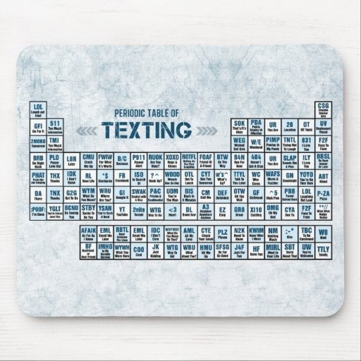 Periodic table of texting blue mouse pad zazzle for Table a vi 6 2 of the stcw code