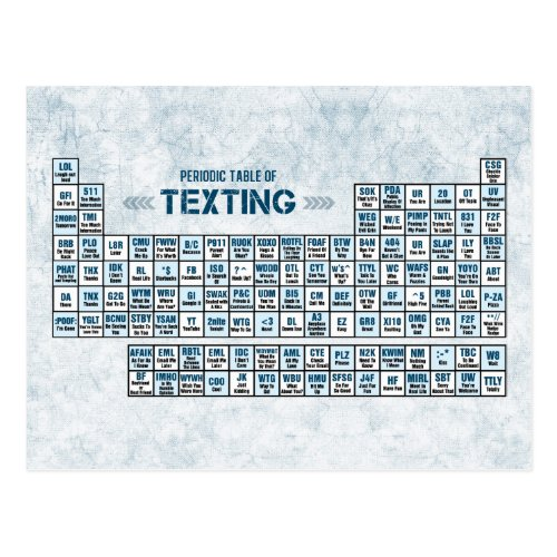 Periodic Table of Texting Blue Postcard